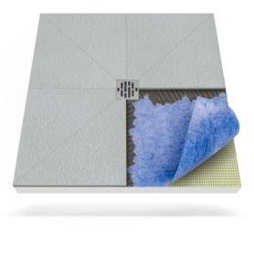 Płyta prysznicowa (brodzik podpłytkowy) z matą uszczelniającą do zabudowy