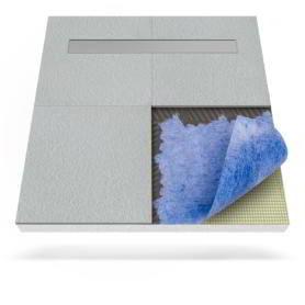 Płyta prysznicowa (brodzik podpłytkowy) z matą uszczelniającą z odpływem liniowym