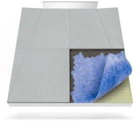 Płyta prysznicowa (brodzik podpłytkowy) z matą uszczelniającą do zabudowy do odpływu ściennego